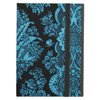 Lacy Vintage Floral - Bright Aqua on Black Case For iPad Air