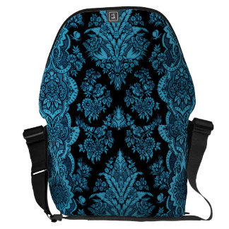 Lacy Vintage Floral - Bright Aqua on Black Messenger Bag