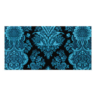 Lacy Vintage Floral - Bright Aqua on Black Photo Greeting Card
