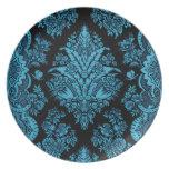 Lacy Vintage Floral - Bright Aqua on Black Party Plate