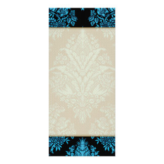 Lacy Vintage Floral - Bright Aqua on Black Personalized Rack Card