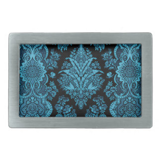 Lacy Vintage Floral - Bright Aqua on Black Rectangular Belt Buckle