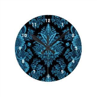 Lacy Vintage Floral - Bright Aqua on Black Round Clock