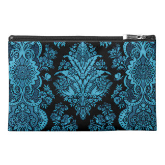 Lacy Vintage Floral - Bright Aqua on Black Travel Accessory Bag