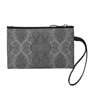Lacy Vintage Floral in Gray Coin Wallet