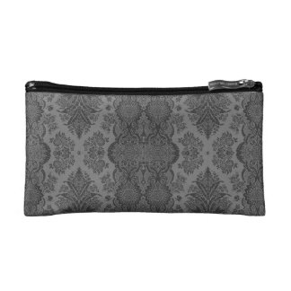 Lacy Vintage Floral in Gray Cosmetic Bag