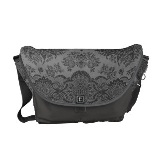 Lacy Vintage Floral in Gray Courier Bag