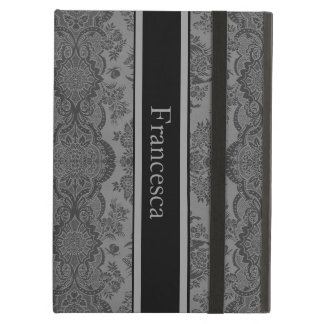 Lacy Vintage Floral in Gray Cover For iPad Air
