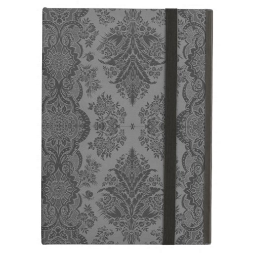 Lacy Vintage Floral in Gray iPad Case