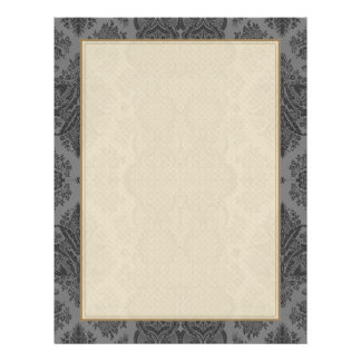 Lacy Vintage Floral in Gray Personalized Letterhead