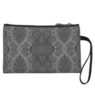 Lacy Vintage Floral in Gray Wristlet