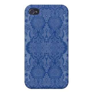 Lacy Vintage Floral in Medium Blue iPhone 4 Cover