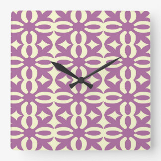 Lacy Violet Victorian Print Square Wall Clock