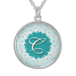 Lacy Wedding Monogram Sterling Silver Necklace