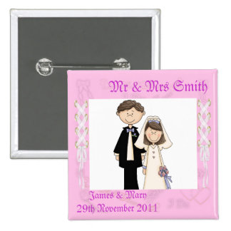 Lacy Wedding Pinback Buttons