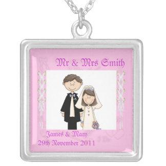 Lacy Wedding Square Pendant Necklace