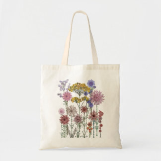 lacy wildflowers budget tote bag