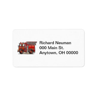 Ladder Fire Truck Address Label