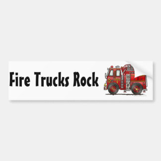 """Ladder Fire Truck, Fire Trucks Rock Bumper Sticke Bumper Sticker"