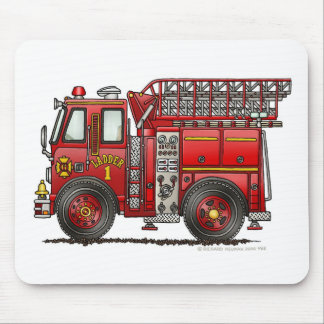 Ladder Fire Truck Firefighter Mouse Pad