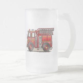 Ladder Fire Truck Frosted Glass Mug