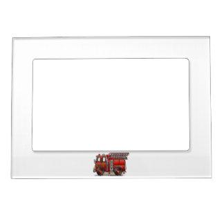 Ladder Fire Truck Picture Frame Magnet