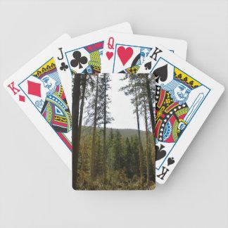 Ladera típica con la porción de árboles altos baraja de cartas