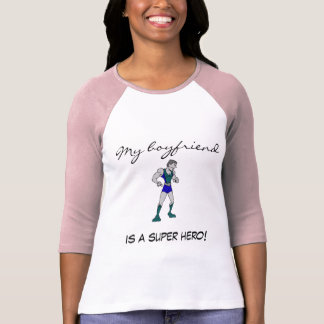 Ladies 3/4 My Boyfriend is a Super Hero! Iron T-Shirt