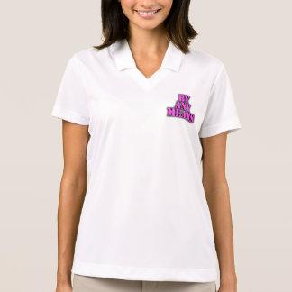 Ladies 3/4 Sleeve Raglan (Fitted), White/Black Polo Shirt