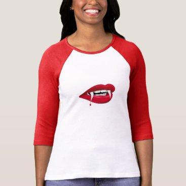 Halloween Themed Ladies 3/4 Sleeve Raglan, White/Red VAMPIRE TEETH T-Shirt