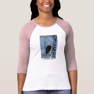 Ladies 3/4S T / Bald Eagle in Winter Snow T-Shirt