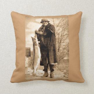 Ladies Always Get the Big Ones Vintage Fishing Throw Pillow