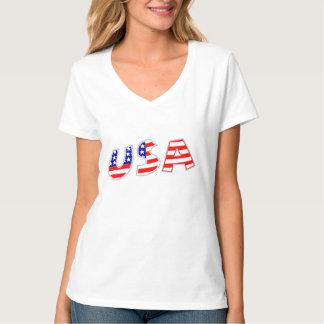 Ladies American Flag USA Patriotic V-Neck T-Shirt