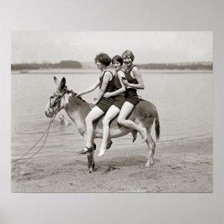 Ladies at Arlington Beach, 1924. Vintage Photo Poster