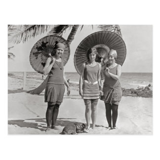 Ladies at the Beach, 1920 Postcard