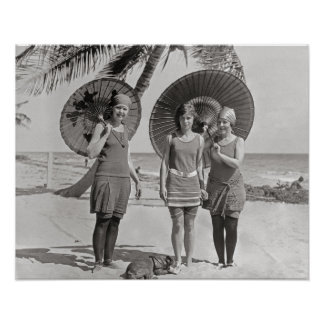 Ladies at the Beach, 1920. Vintage Photo Poster