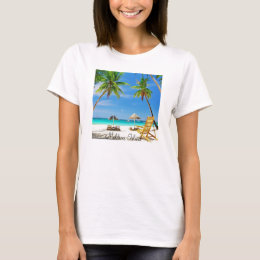 Ladies Baby Doll (Fitted) T Shirt, Maldives Island T-Shirt