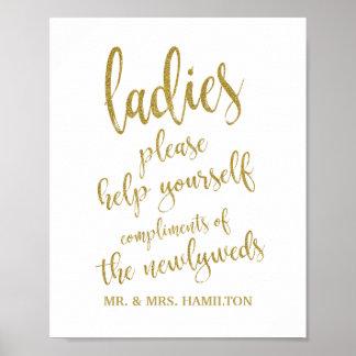 Ladies Bathroom Basket Glitter 8x10 Wedding Sign