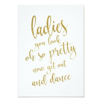 Ladies Bathroom Gold Affordable Wedding Sign Card