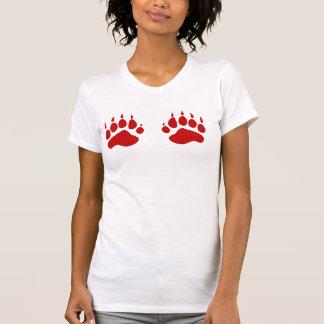 Ladies Bear Paws  Tank Top Red