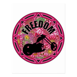 Ladies Biker Freedom Postcard