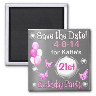 Ladies Birthday Invitation Magnet Silver & Pink Fridge Magnet