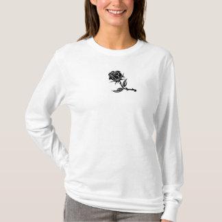 Ladies Black Rose Long Sleeve Shirt