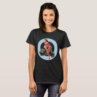 Ladies Black Scooter girl t-shirt ska mods