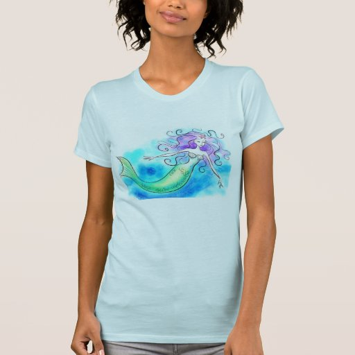 ladies blue tee with a mermaid - Customized