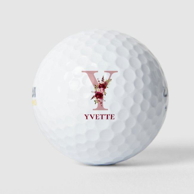 Ladies Blush Pink Floral Initial Y and Name Golf Balls