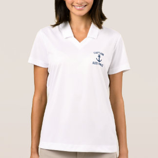 Ladies boat captain name navy anchor polo shirt