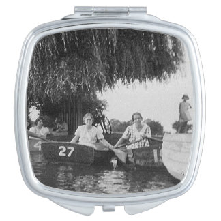 Ladies & Boats Vintage Image Square Compact Mirror