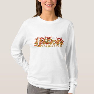 Ladies Christmas Singing Reindeer Long Sleeve Top
