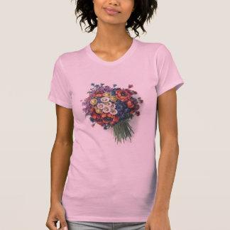 Ladies Colorful Vintage Floral Bouquet Top Blouse Shirt